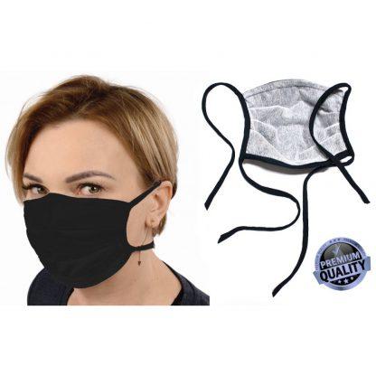 Kvalitetna zaščitna pralna maska iz bombaža črna z srebrnimi ioni