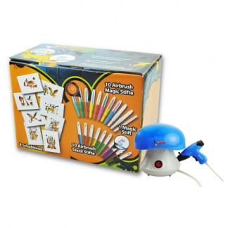 Malinos otroški Grafiti Airbrush set s kompresorjem moder